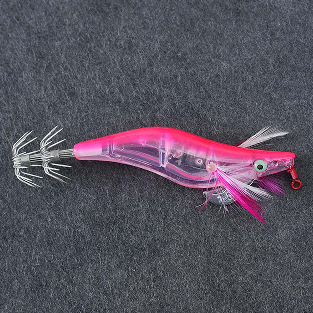 Flashing LED Lights Shrimp Fishing Lures Prawn Baits Squid Jigs Hook Tackle 1pc