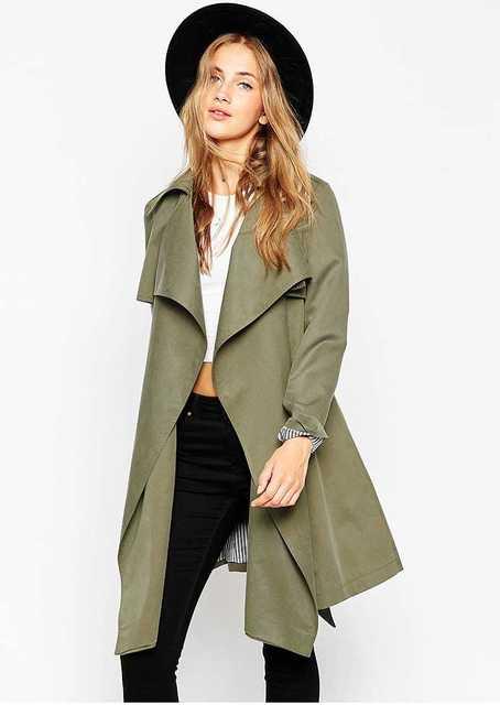 wholesale dealer 0878d b5296 US $59.13 |2015 Abbigliamento Donna Verde Dell'esercito Giacca Militare  Femminile Cappotto Casuale Sottile Parka Manica Lunga Chaqueta Mujer  Cappotti ...