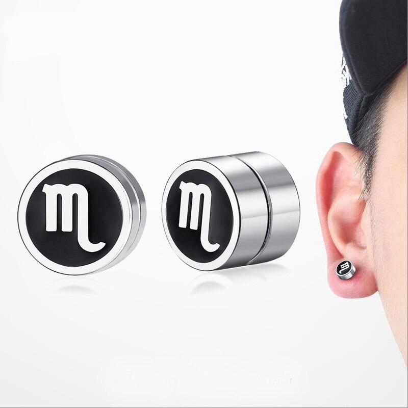 Scorpio Magnetic Earrings Stainless Steel Twelve Constellations Men Jewelry Ear Clip Stud Earings Non Piercing Pendiente Brincos