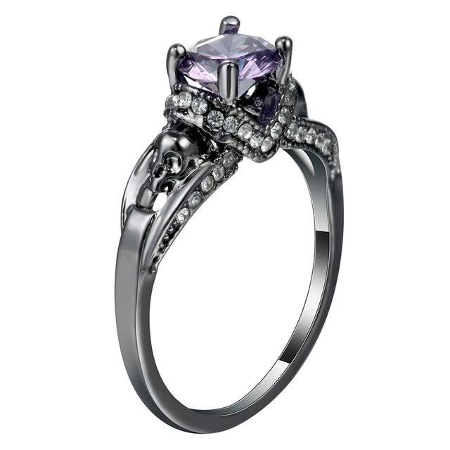 Punk Jewelry Women s Skull Ring White Gold Filled jewelry Black Zircon  stone Women s Wedding Ring Band Size 6-10 1e370dc597