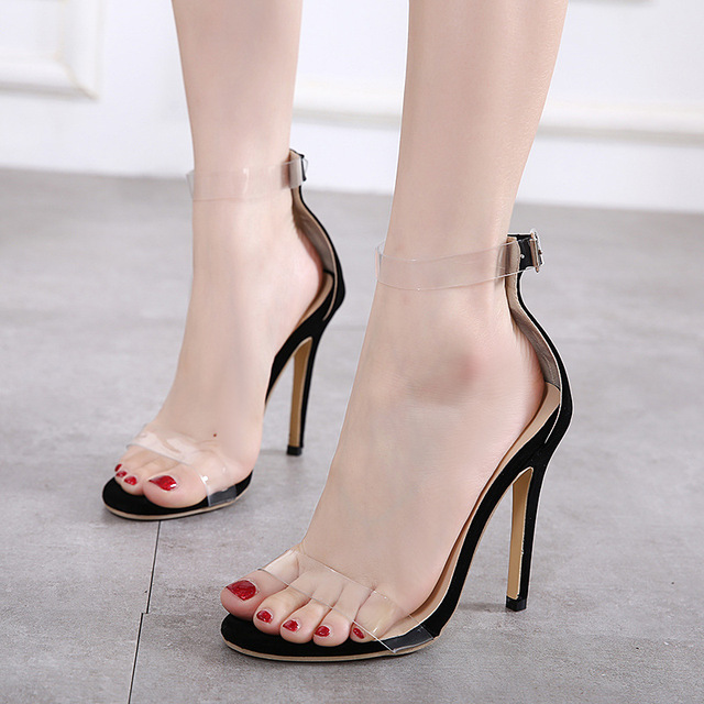 Лето супер женские туфли на высоком каблуке пикантные прозрачные босоножки  Повседневная выходная обувь свадебные туфли модная 07f1a97238f