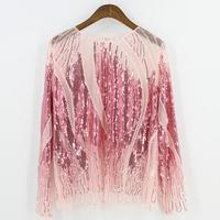 Summer long sleeves Embroidery sequin bead Sheer Lace mesh See-through gauze blouse Mujer spicy Means care top Femme