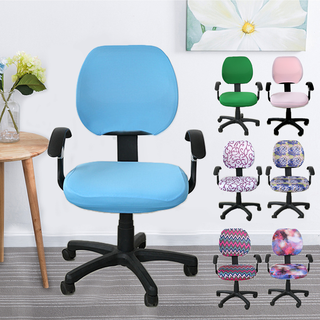 Spandex Computer Chair Cover 100% Polyester Elastic Fabric Office Chair Cover Easy Washable Removeable Without Armrest Cover