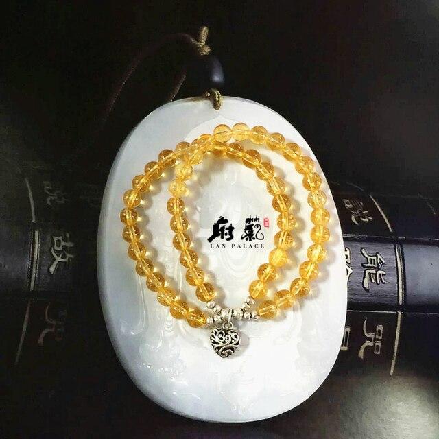 Natural stone Yellow Crystal bracelet  round beads Elastic bohemian bracelet jewelry women  Jewelery accessories free shipping