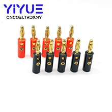 10 Pcs High Quality 4mm Banana Plug Gold Plated Red Black Length 40mm Connector
