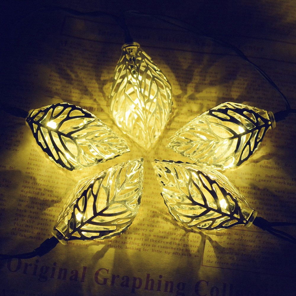 New typs Solar Light Strings 20 Light LED creative Leaf style Iron Light String Outdoor Garden Decoration Garland Light