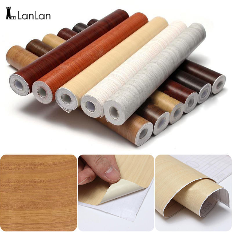 LanLanSelf Adhesive PVC Decal Wood Grain Wall Film Paper Sticker for Home Office Furniture DIY Easy to Install No Mess 10M-30