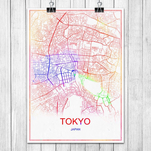 Tokyo japan colorful world city map print poster abstract coated paper bar cafe pub living room