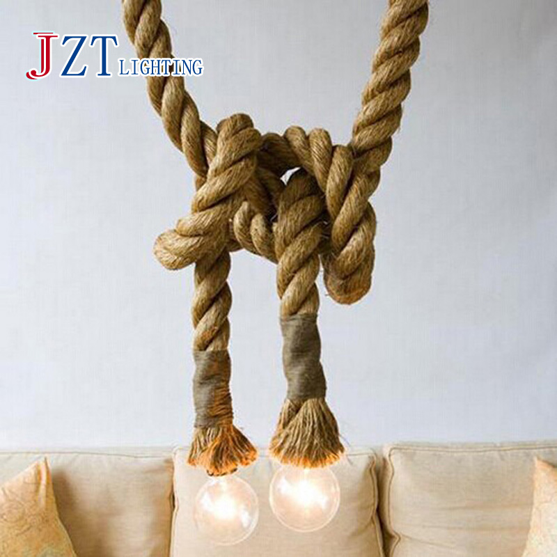 J best price LOFT INDUSTRIAL Toronto Manila 3M Rope Ceiling Lights Chandeliers RUSTIC vintage rope light creative lamp