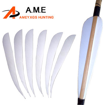 200pcs Fletching White real Turkey Feathers Archery  5'' for  Arrows Archery Hunting Shooting Sport