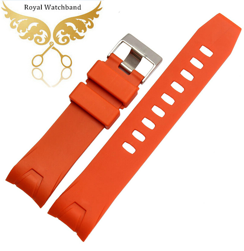 20mm 22mm Orange Waterproof Silicone Rubber Watch band strap Bracelet Curved end Fit 2901.50.91 20mm cheap custom silicone bracelet black orange rubber watchband for mens waterproof silicone bracelet watch
