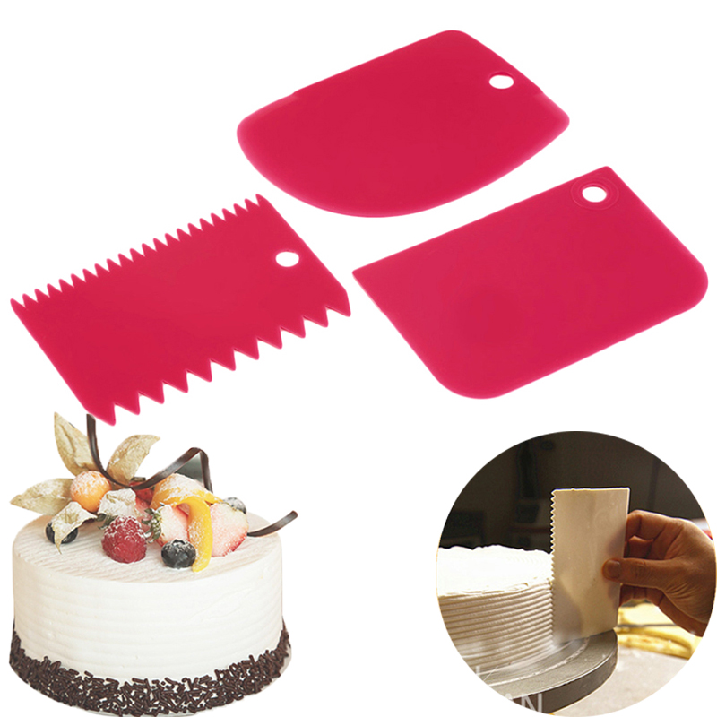 3PCS/Set Hot High Quality Colorful Multifunctional Irregular Teeth Edge DIY Cream Scraper Set Cake Mold Tools(China)