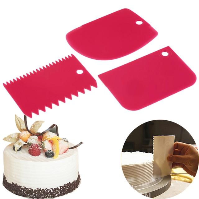 3 pçs/set Hot Alta Qualidade Multifuncional Colorido Irregular Borda Dentes DIY Conjunto Ferramentas de Molde Bolo de Creme Raspador