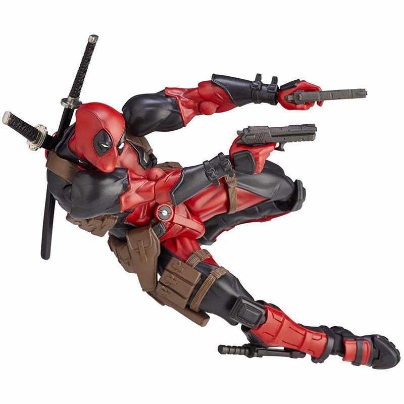 """Anime Super Hero serii nr 001 szary Deadpool PVC czerwony figurki X-dla dzieci zabawki lalki kolekcjonerskie z retail Box 6 """"15 cm"""