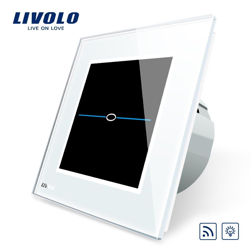 Livolo EU Standard  Wall Light Remote Touch Dimmer Switch, AC 220-250VL-C701DR-31,White Crystal Glass Panel.No remote controller eu plug 1gang1way touch screen led dimmer light wall lamp switch not support livolo broadlink geeklink glass panel luxury switch