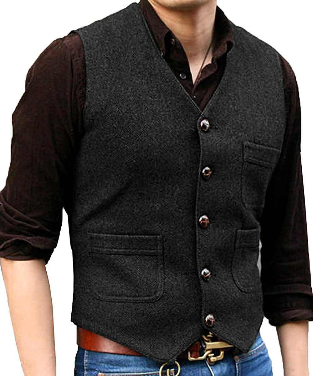 新メンズスーツベスト V ネックウール Herringbone Tweed カジュアルチョッキフォーマルビジネスベスト Groomman のためのグリーン/黒 /ブラウン/コーヒー + + +