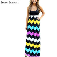 Irene Inevent 2017 Women Summer Dresses Striped Print Long Dress Beach Boho Maxi Sundress Ladies Fashion