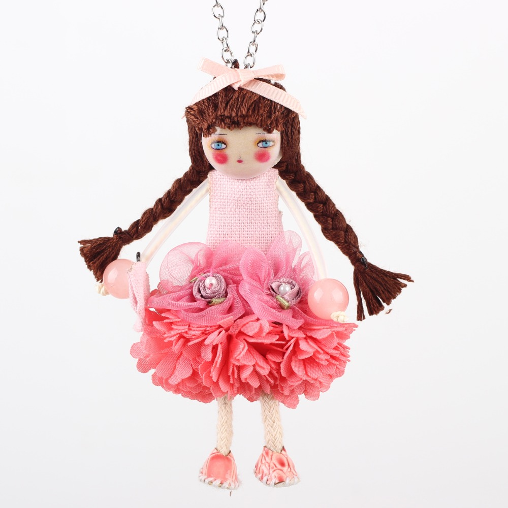 Bonsny Handmade French Doll Necklace Statement Cloth Long Chain Pendant 2016 New Spring Summer Jewelry for Women Gift Accessorie