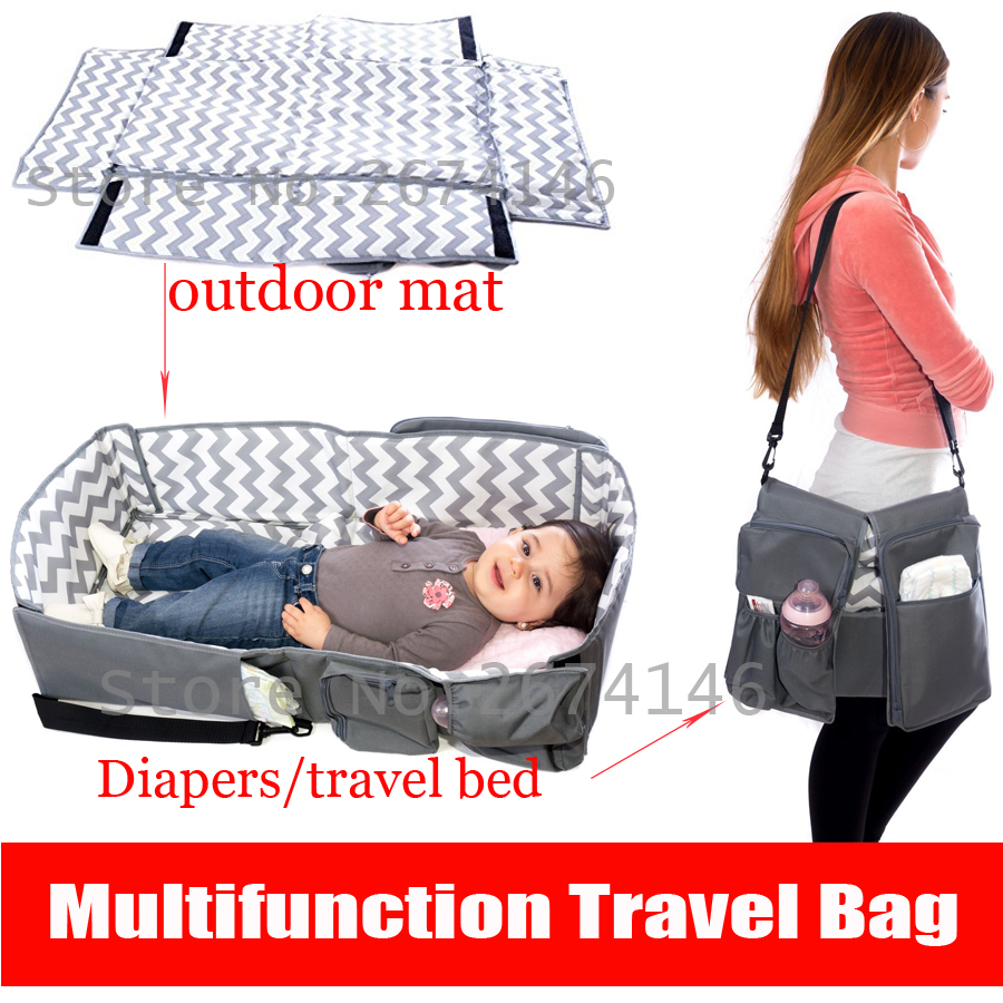 Baby bed camping - Multifunction Portable Folding Crib Mummy Bag 4 In 1 Baby Care Bag Travel Bed Infant Diaper