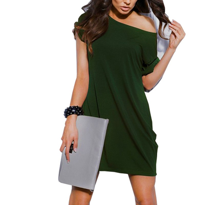 Women Fashion Sexy V Neck Office Lady Slash Neck Solid Work Business Pencil Bodycon Mini Dress