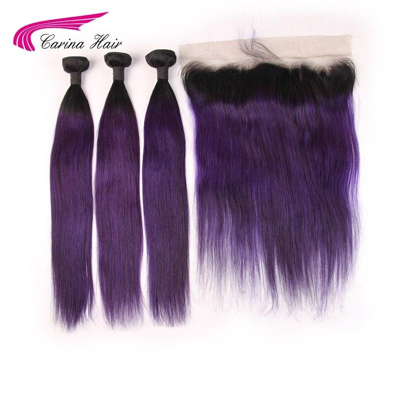 Карина волосы 3 Связки с фронтальным Омбре монгольские прямые волосы 1B фиолетовый цвет человеческие волосы Расширения 8 28 дюймов волосы remy