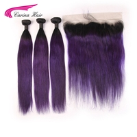 Carina Hair 3 Bundles With Frontal Ombre Mongolian Straight Hair 1B purple Color Human Hair Extensions 8 28 Inch Hair Remy Hair