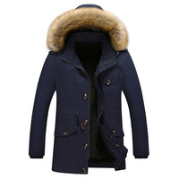 Men Cotton Fur Collar Jacket Thick Hooded Men Winter Jacket Coat Jaqueta Masculina Parka Mens Casual
