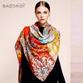 [BAOSHIDI]100% Wool winter Scarf,Luxury brand fashion scarfs, Elegant scarves women, Infinity Square lady shawl,Warm hijab woman