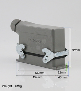 Image 5 - Rectangular H24B   HE   024 1 heavy duty connectors 24 pin  line 16 a500v screw feet of aviation plug on the side