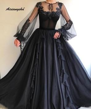 Robe de soiree Black Evening Dress 2019 Jewel-Neck Sleeves Lace Appliques Hand-Beaded Long Formal Evening Dresses