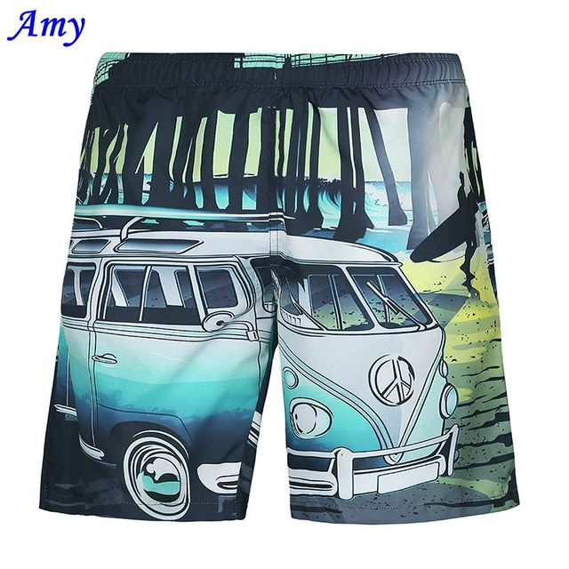 2016 New Hot 3D beach shorts Men Thin shorts Good Casual Quick-drying Small Car Digital Printing Two Layer Size S-XXL