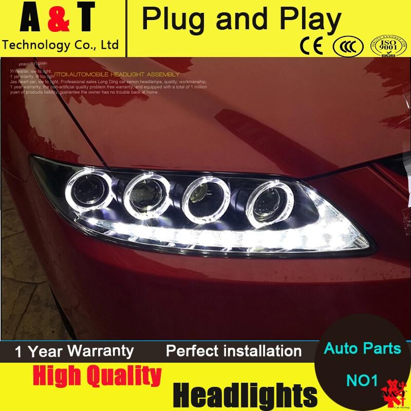 Авто Стиль освещения светодиодные фары для Mazda6 светодиодные фары assembly2006-2013 модели Mazda6 сигнала глаза ангела DRL фары H7 с HID комплект 2шт.