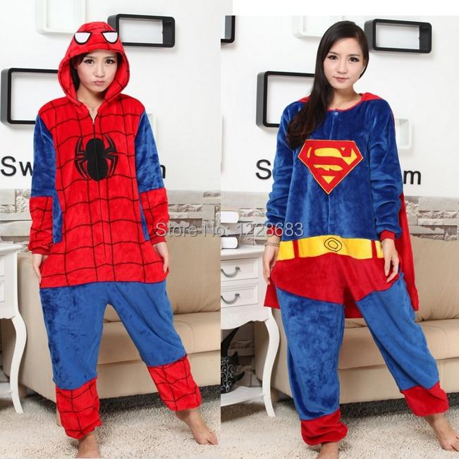 New High Quality Movie Character Halloween Christmas Cosplay Costume Adult Spiderman Pajamas Batman Superman Onesie