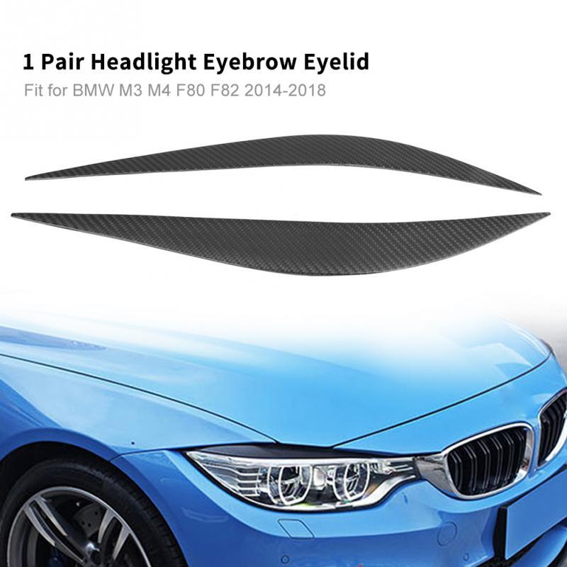 2Pcs Car Headlight Eyebrow Eyelid Trim Strip for BMW M3 M4 F80 F82 2014 2015 2016