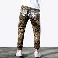 Summer personality amouflage breathable mesh pants mens feet trousers casual thin skull harem pants for men embroidery