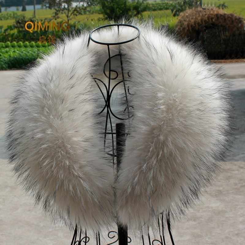 Natural Raccoon Fur Collar Scarf Fur Collar For Hood 100% Real Fur Collar Scarves Custom Made Winter Fur Scarf Warmer Pashmina