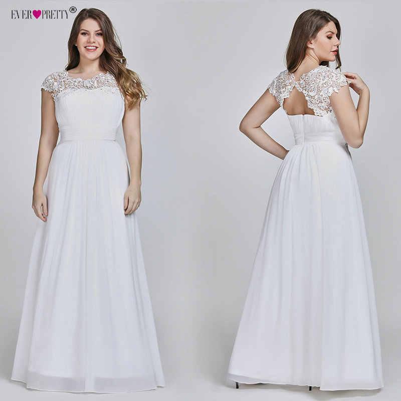 Ever Pretty Plus Size Elegant Lace Appliques Chiffon A-line White Bride Gowns  For Women 1cdc3dbca512