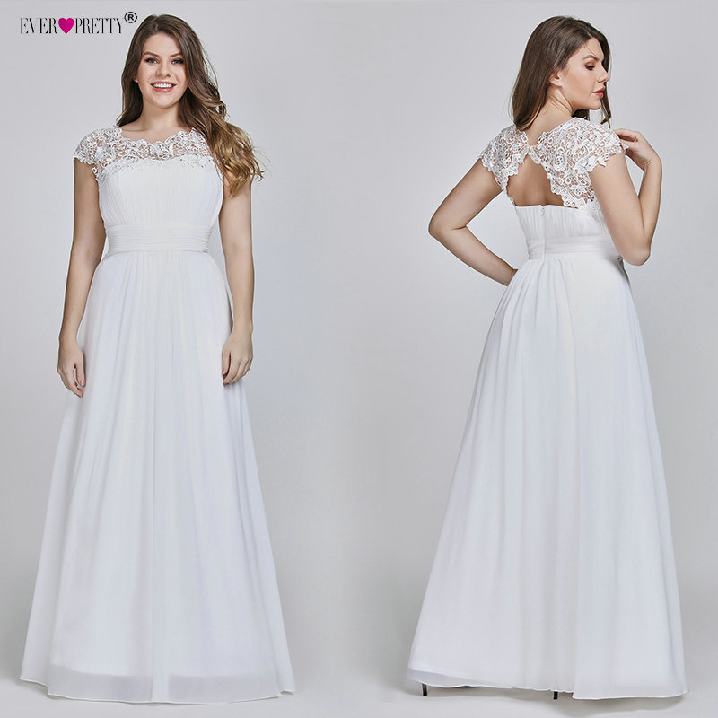 Ever Pretty Plus Size Elegant Lace Appliques Chiffon A-line White Bride Gowns For Women Wedding Dress 2019 Vestido De Noiva