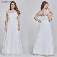 Ever Pretty Plus Size Elegant Lace Appliques Chiffon A line White Bride Gowns For Women Wedding Dress 2019 Vestido De Noiva