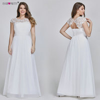 Ever Pretty Plus Size Elegant Lace Appliques Chiffon A line White Bride Gowns For Women Wedding Dress 2019 Vestido De Noiva