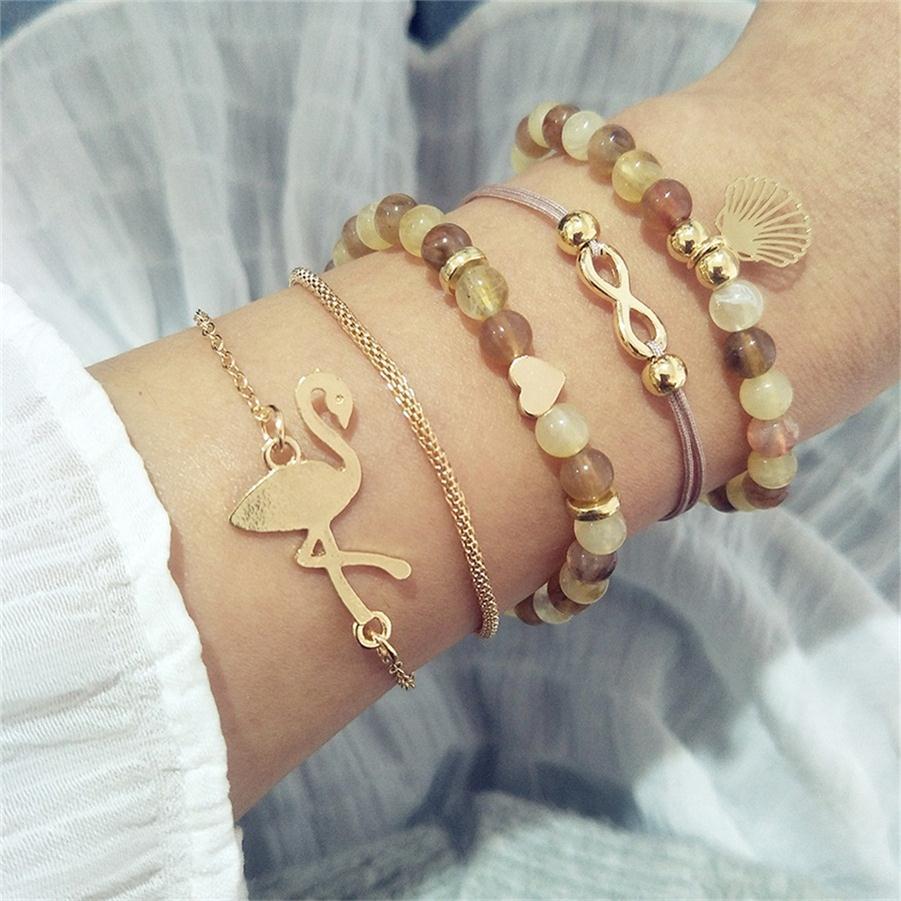 30 стильный браслет в стиле бохо, слон, сердце, ракушка, звезда, луна, бант, карта, Хрустальный браслет из бисера, женские очаровательные вечерние ювелирные изделия, аксессуары для свадьбы - Окраска металла: 016