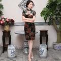 TIC-TEC chinese cheongsam short qipao women velvet peony print tradicional slim elegant party oriental dresses clothes P2959