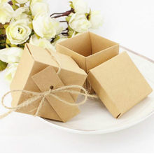 50pcs/lot Kraft Paper Candy Box Wedding Gift Baby Shower Square Shape Wedding Favor Handmade Soap Packaging with Ribbon and Tag(China)
