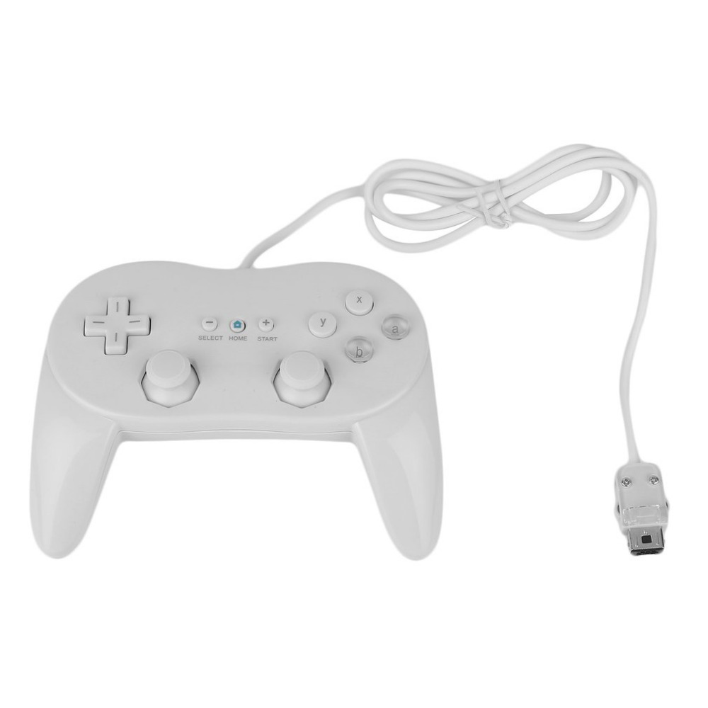 ViGRAND Free Shipping 1pcs White Black Wired Classic Pro Controller Gamepad Game Joystick For Wii
