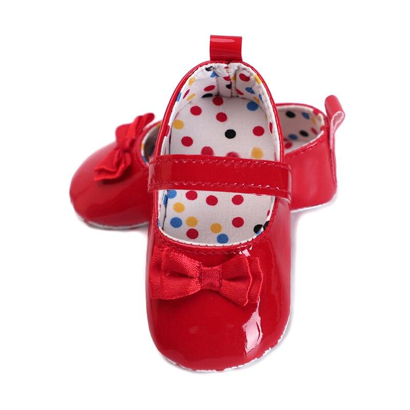 Детская обувь для девочек moccs принцессы с бантом Искусственная кожа хлопковые пинетки для bebe Красный мягкой подошвой первые шаги противоск... ...