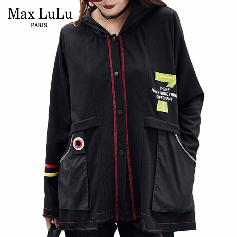 Max LuLu 2019 Autumn Luxury Korean Brand Ladies Oversized Windbreaker Womens Hooded Jacket Casual Punk Clothes