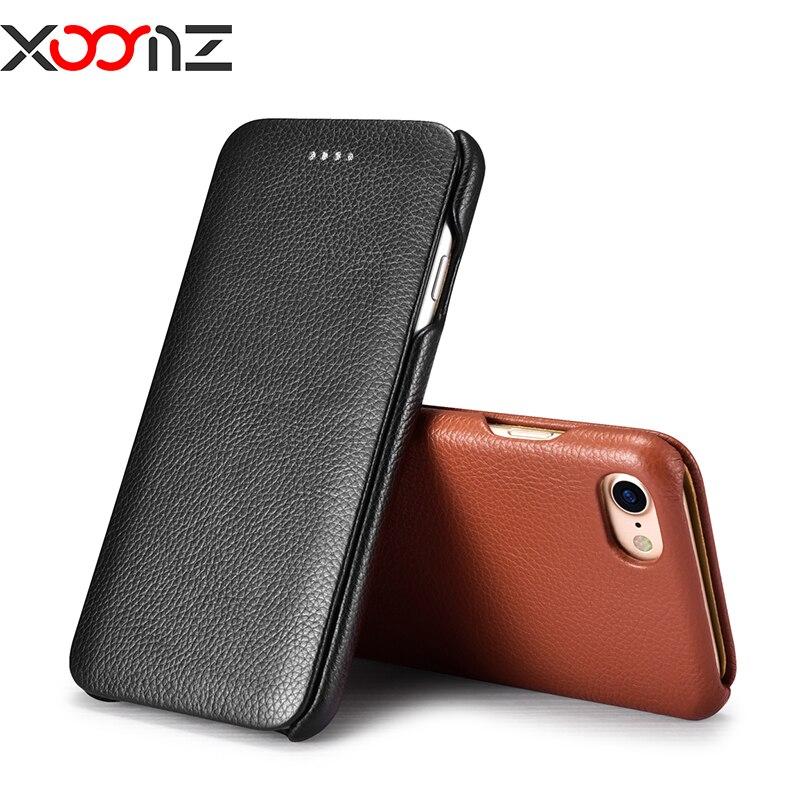 imágenes para Xoomz lujo del cuero genuino wallet case para iphone 7 case 7 además de teléfono bolsa de la cubierta del tirón del patrón del lichí para el iphone 7 7 plus Shell