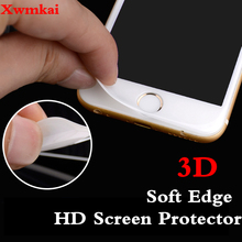 Xwmkai 3D Curved Surface Screen Protector Tempered Glass For Iphone 6S 7 8 Plus Soft Edge Full Cover protection Film 6p