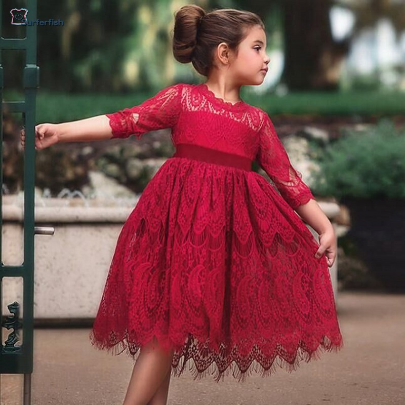 f729665ee SurferFish Kids Baby Girls Kids Lace Flowers Girls Dress X-mas Holiday Christmas  Wear 3 Colors, Children Dress Wedding dress