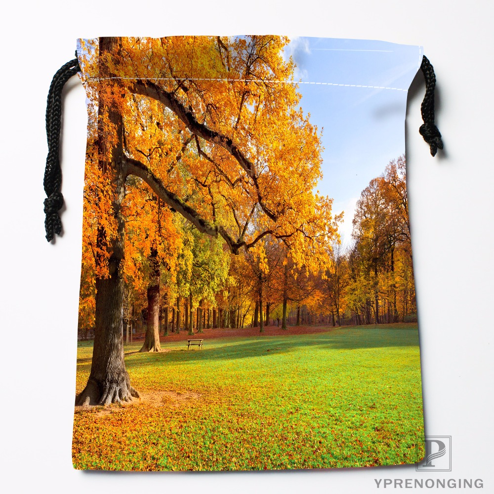 Custom Autumn Nature Trees Falling Drawstring Bags Travel Storage Mini Pouch Swim Hiking Toy Bag Size 18x22cm#0412-04-01